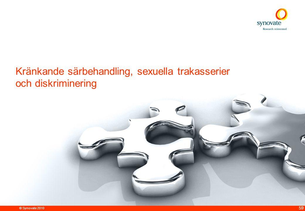 © Synovate 2010 59 Kränkande särbehandling, sexuella trakasserier och diskriminering