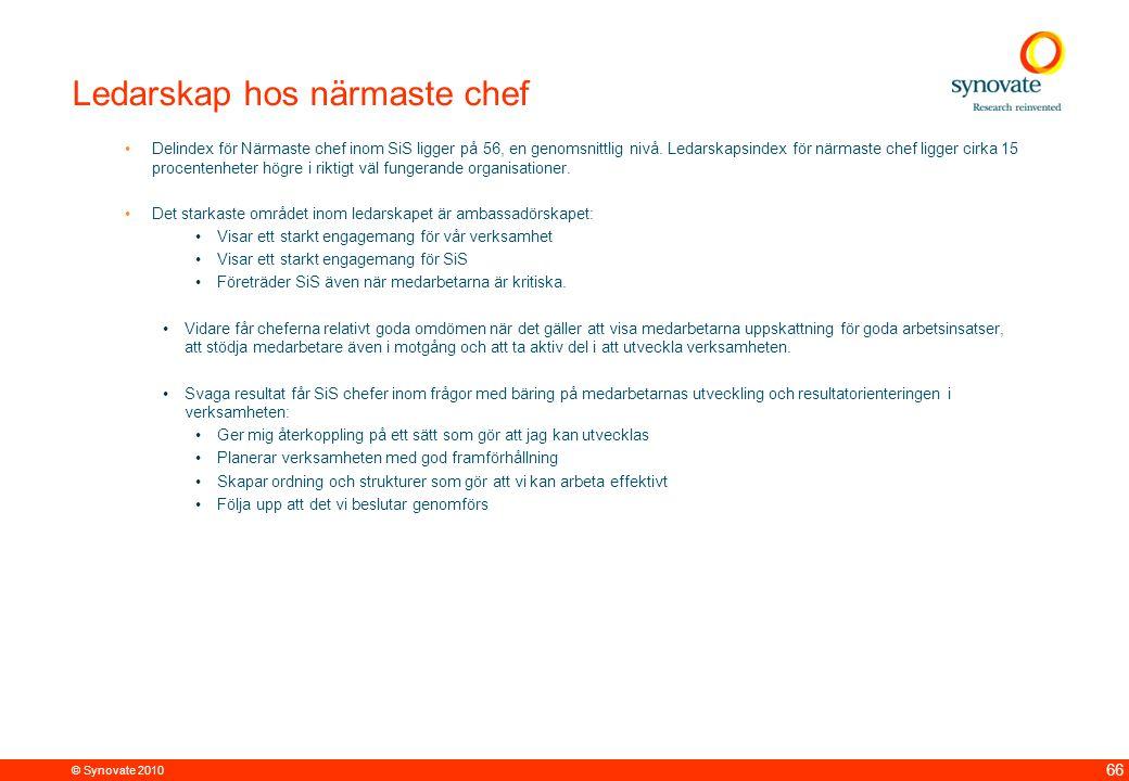 © Synovate 2010 66 Ledarskap hos närmaste chef Delindex för Närmaste chef inom SiS ligger på 56, en genomsnittlig nivå.