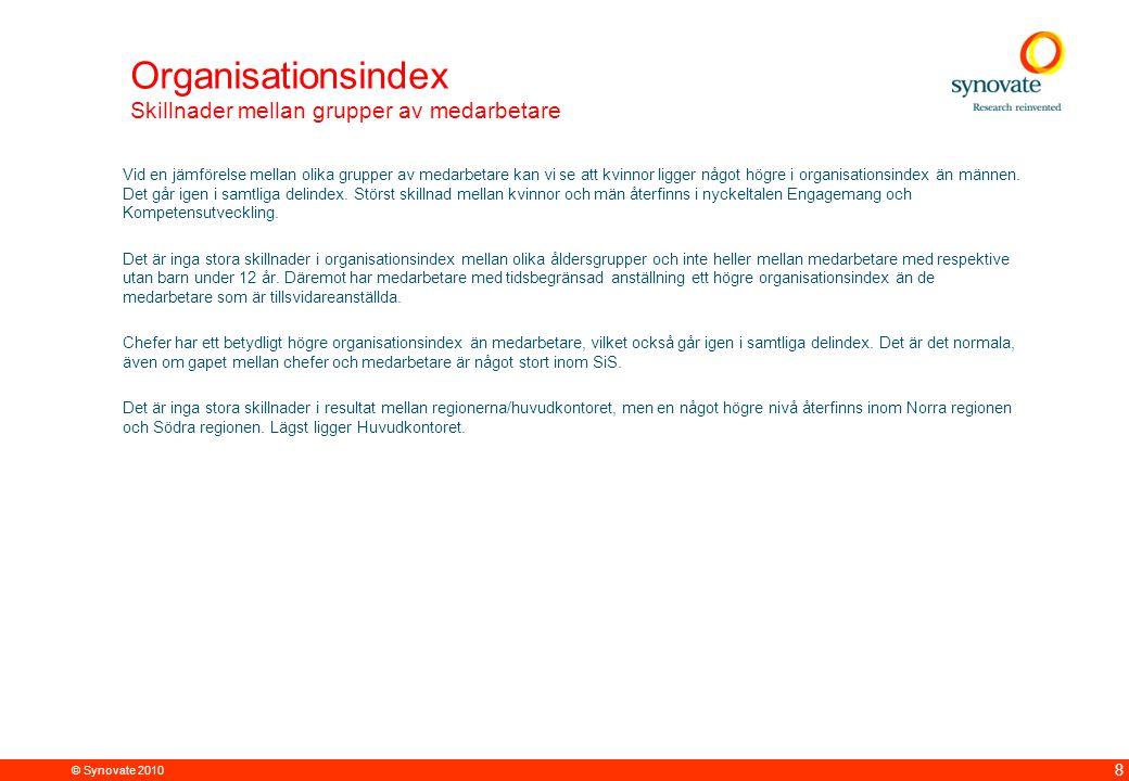 © Synovate 2010 8 Organisationsindex Skillnader mellan grupper av medarbetare Vid en jämförelse mellan olika grupper av medarbetare kan vi se att kvinnor ligger något högre i organisationsindex än männen.