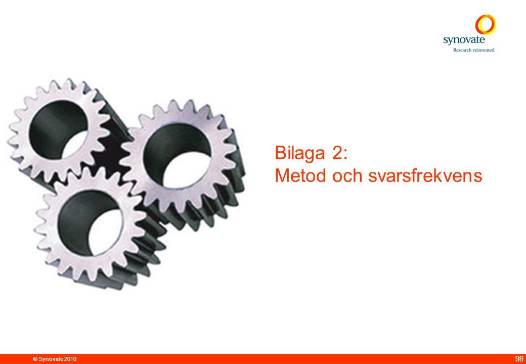 © Synovate 2010 98 Bilaga 2: Metod och svarsfrekvens