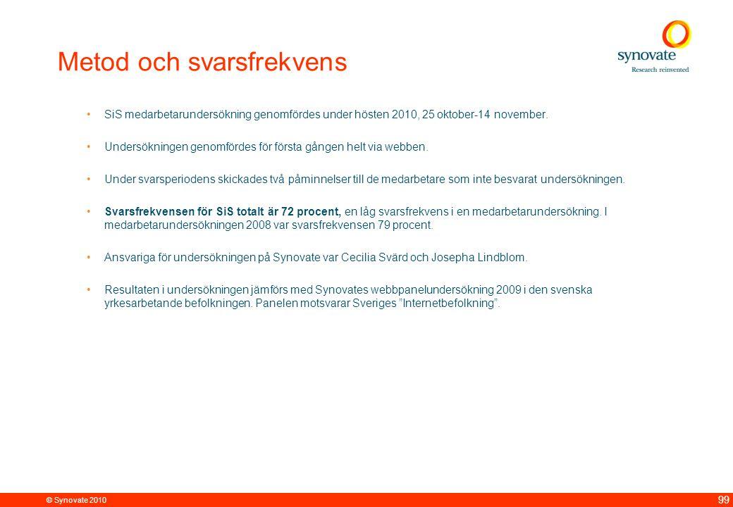 © Synovate 2010 99 Metod och svarsfrekvens SiS medarbetarundersökning genomfördes under hösten 2010, 25 oktober-14 november.