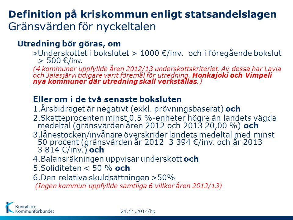 Definition på kriskommun enligt statsandelslagen Gränsvärden för nyckeltalen Utredning bör göras, om »Underskottet i bokslutet > 1000 €/inv.