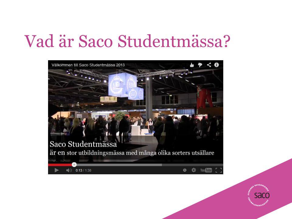 | Föredragsnamn, Föredragshållare, ååmmdd Vad är Saco Studentmässa? 2