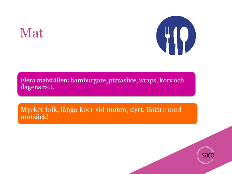 | Föredragsnamn, Föredragshållare, ååmmdd Mat Flera matställen: hamburgare, pizzaslice, wraps, korv och dagens rätt.
