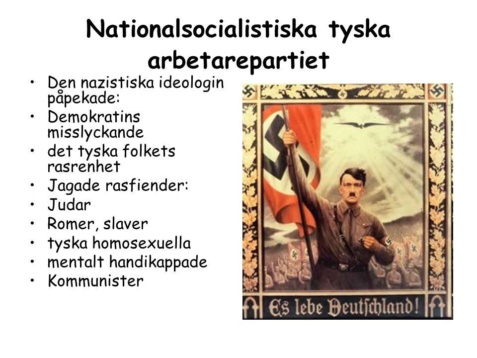 Nationalsocialistiska tyska arbetarepartiet Den nazistiska ideologin påpekade: Demokratins misslyckande det tyska folkets rasrenhet Jagade rasfiender: Judar Romer, slaver tyska homosexuella mentalt handikappade Kommunister