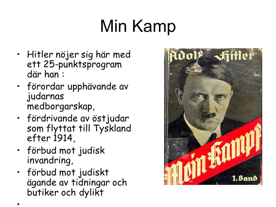 Min Kamp Hitler nöjer sig här med ett 25-punktsprogram där han : förordar upphävande av judarnas medborgarskap, fördrivande av östjudar som flyttat till Tyskland efter 1914, förbud mot judisk invandring, förbud mot judiskt ägande av tidningar och butiker och dylikt