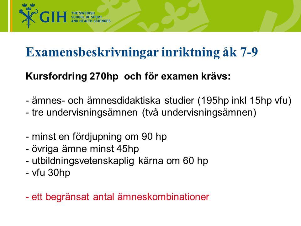 Examensbeskrivningar inriktning gymnasiet Kursfordring 300-330 hp och för examen krävs: -ämnes- och ämnesdidaktiska studier (225/255hp inkl 15hp vfu) -två undervisningsämnen -en fördjupning/huvudämne 120hp -en fördjupning/ämne två 90 hp -utbildningsvetenskaplig kärna (uvk) 60 hp -vfu 30hp -begränsat antal ämneskombinationer