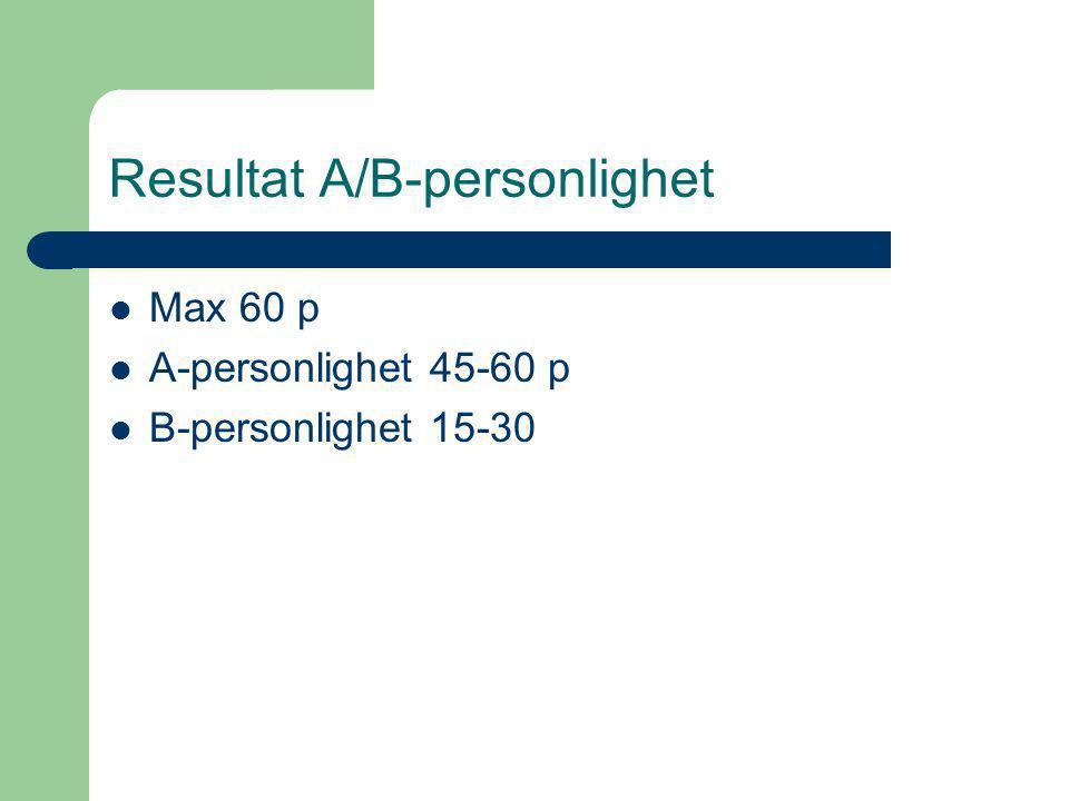 Resultat A/B-personlighet Max 60 p A-personlighet 45-60 p B-personlighet 15-30