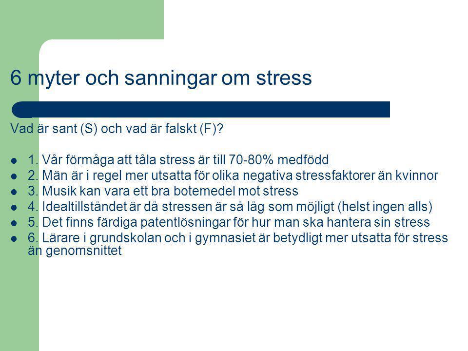 6 myter och sanningar om stress Vad är sant (S) och vad är falskt (F)? 1. Vår förmåga att tåla stress är till 70-80% medfödd 2. Män är i regel mer uts