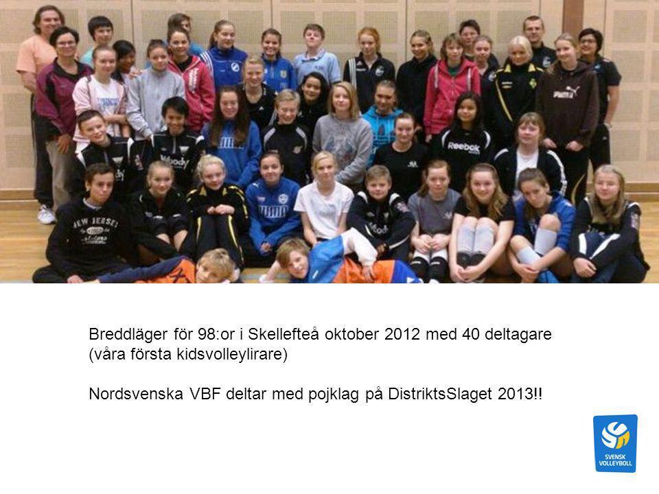 Breddläger för 98:or i Skellefteå oktober 2012 med 40 deltagare (våra första kidsvolleylirare) Nordsvenska VBF deltar med pojklag på DistriktsSlaget 2