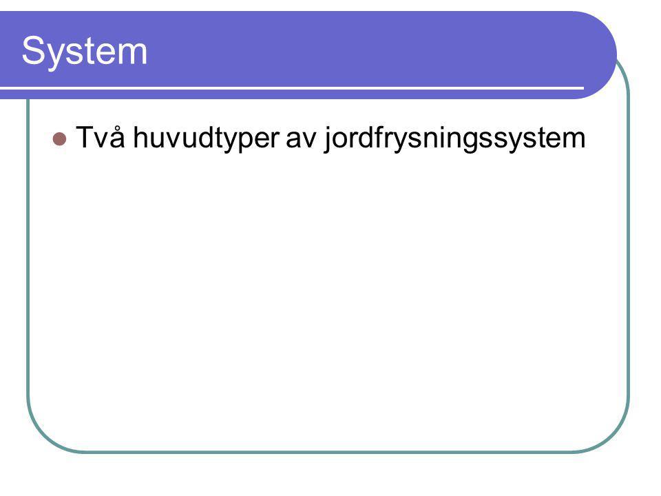 System Två huvudtyper av jordfrysningssystem