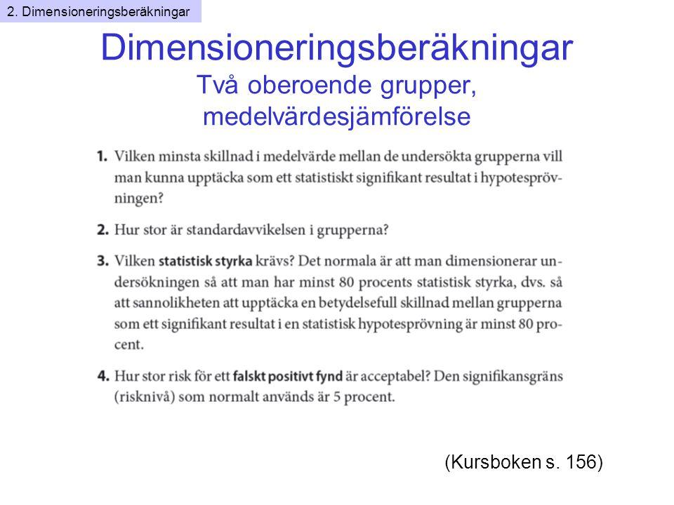 Dimensioneringsberäkningar Två oberoende grupper, medelvärdesjämförelse (Kursboken s.