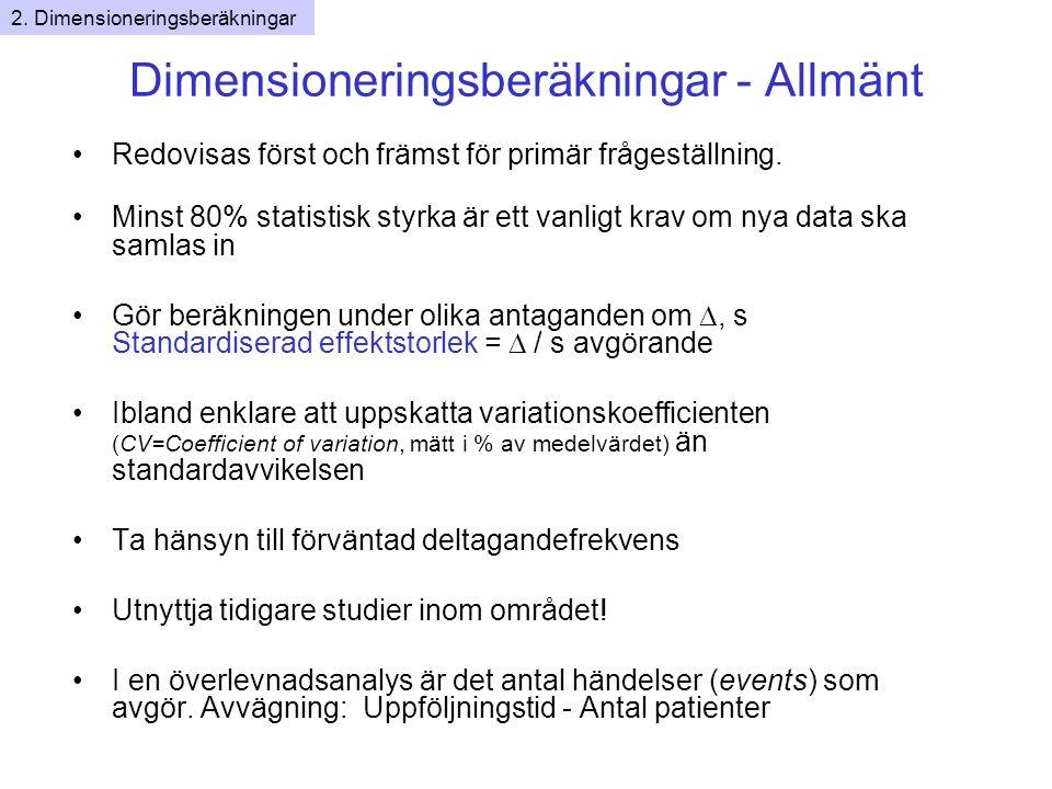 Dimensioneringsberäkningar - Allmänt Redovisas först och främst för primär frågeställning.