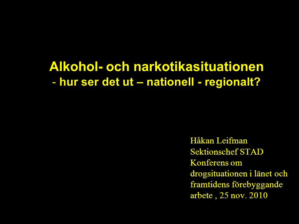 Alkohol- och narkotikasituationen - hur ser det ut – nationell - regionalt? Håkan Leifman Sektionschef STAD Konferens om drogsituationen i länet och f