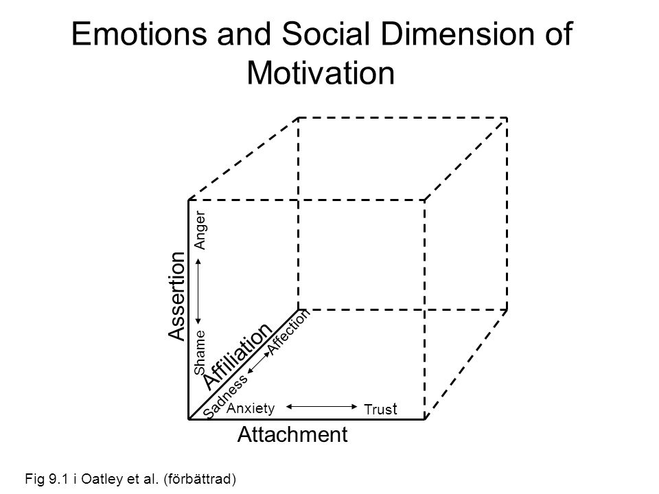 Emotions and Social Dimension of Motivation Affiliation Assertion Attachment Anxiety Trus t Affection Sadness Shame Anger Fig 9.1 i Oatley et al. (för