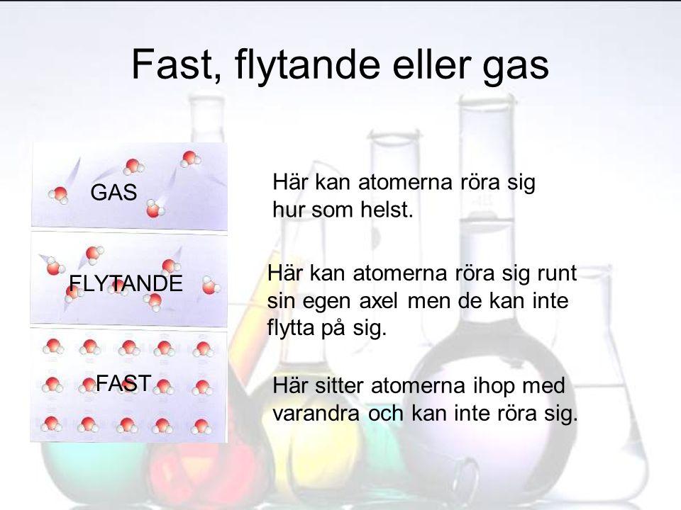 Fast, flytande eller gas Här sitter atomerna ihop med varandra och kan inte röra sig. Här kan atomerna röra sig runt sin egen axel men de kan inte fly