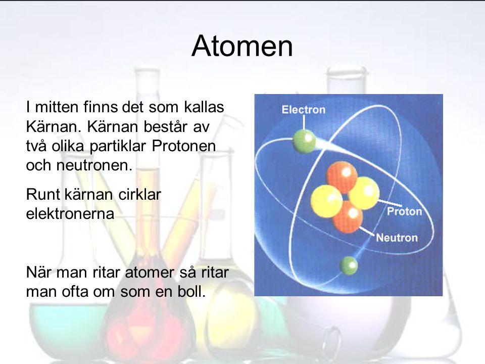 Atomen I mitten finns det som kallas Kärnan. Kärnan består av två olika partiklar Protonen och neutronen. Runt kärnan cirklar elektronerna När man rit
