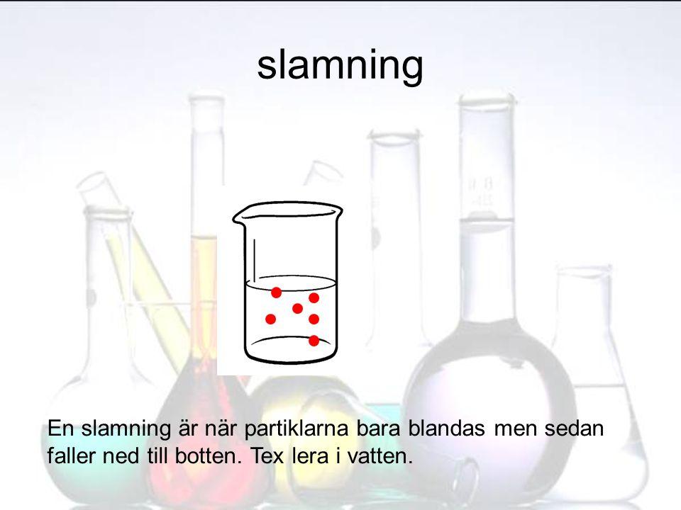 slamning En slamning är när partiklarna bara blandas men sedan faller ned till botten. Tex lera i vatten.