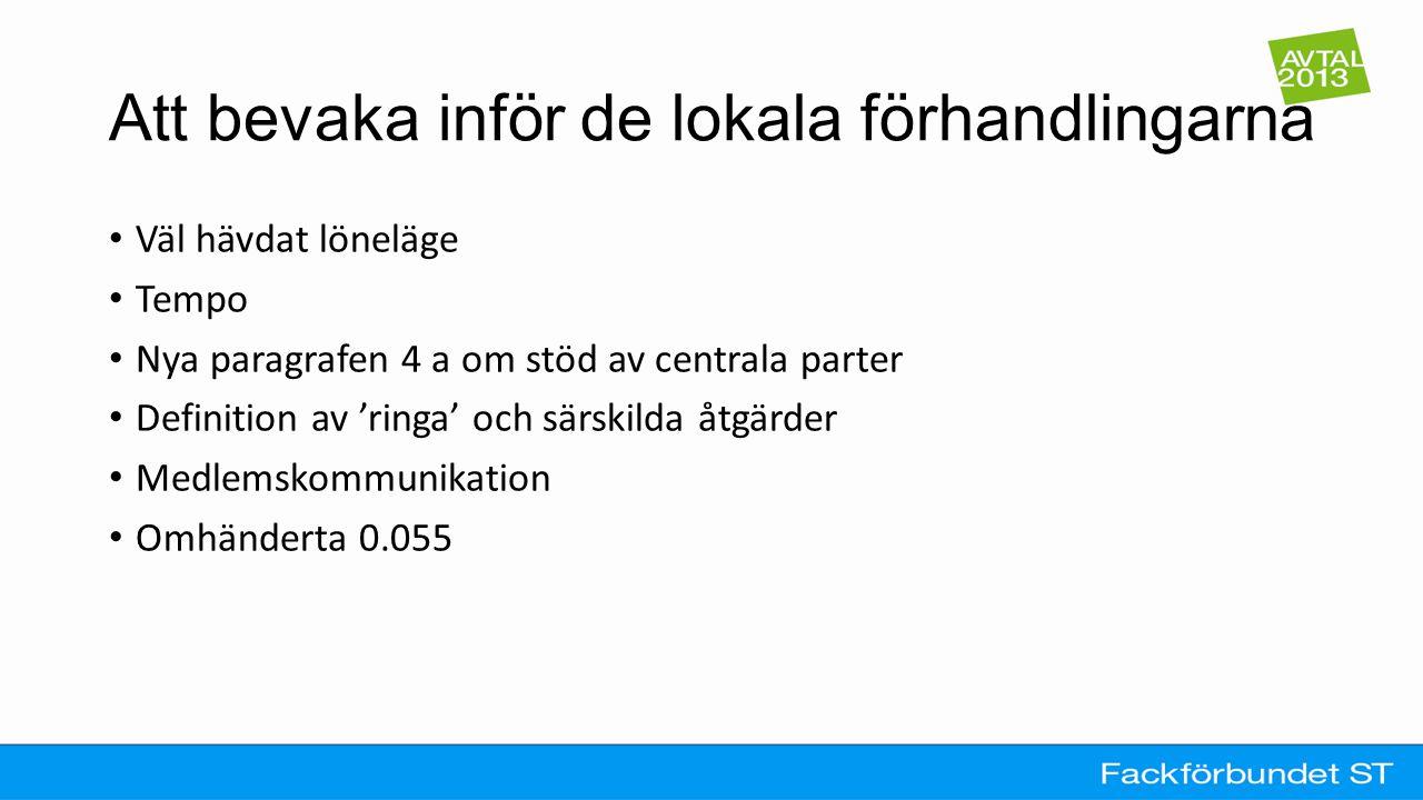 Att bevaka inför de lokala förhandlingarna Väl hävdat löneläge Tempo Nya paragrafen 4 a om stöd av centrala parter Definition av 'ringa' och särskilda åtgärder Medlemskommunikation Omhänderta 0.055