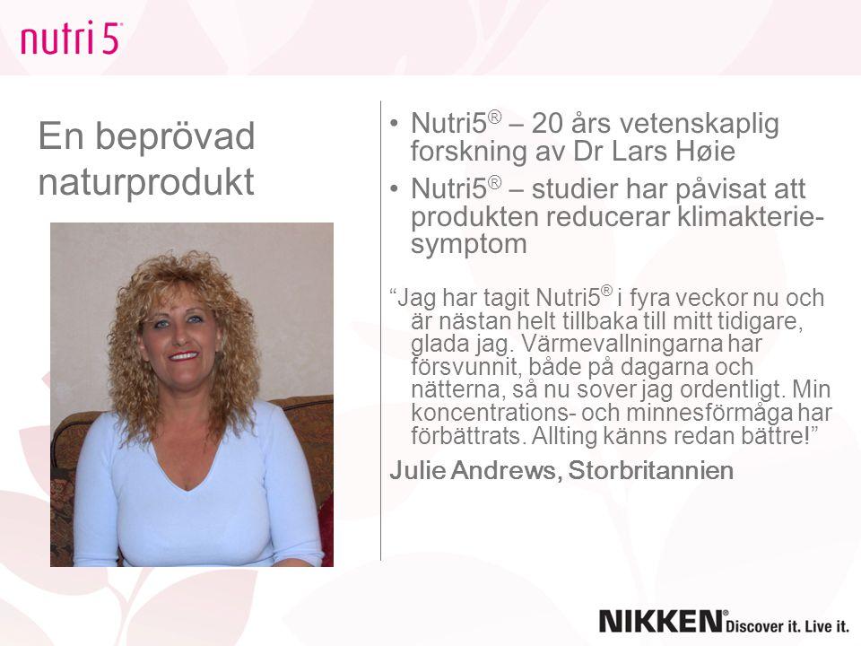 En beprövad naturprodukt Nutri5 ® – 20 års vetenskaplig forskning av Dr Lars Høie Nutri5 ® – studier har påvisat att produkten reducerar klimakterie-