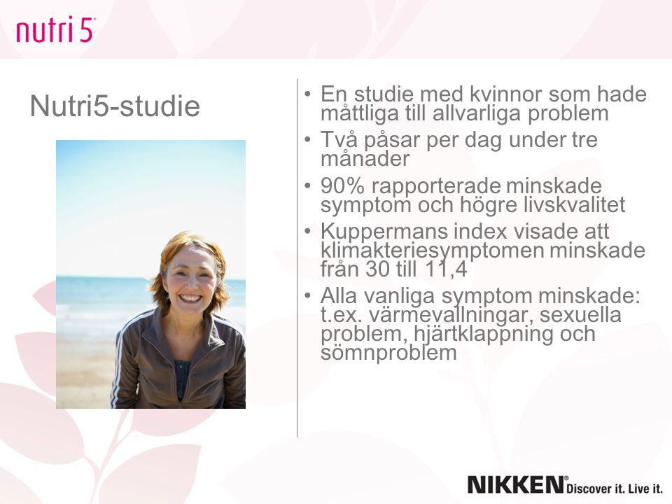 Nutri5-studie En studie med kvinnor som hade måttliga till allvarliga problem Två påsar per dag under tre månader 90% rapporterade minskade symptom oc