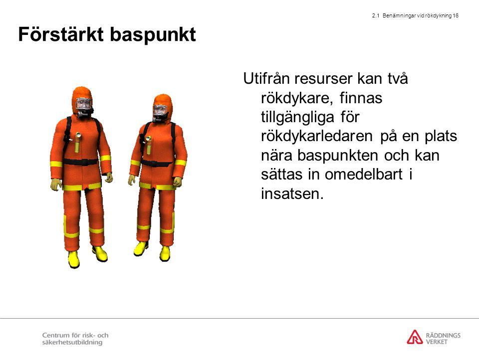 2.1 Benämningar vid rökdykning 16 Förstärkt baspunkt Utifrån resurser kan två rökdykare, finnas tillgängliga för rökdykarledaren på en plats nära basp