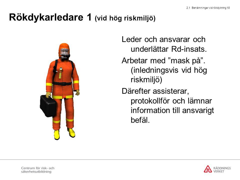 """2.1 Benämningar vid rökdykning 18 Rökdykarledare 1 (vid hög riskmiljö) Leder och ansvarar och underlättar Rd-insats. Arbetar med """"mask på"""". (inledning"""