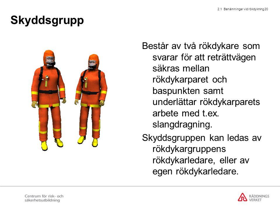 2.1 Benämningar vid rökdykning 20 Skyddsgrupp Består av två rökdykare som svarar för att reträttvägen säkras mellan rökdykarparet och baspunkten samt
