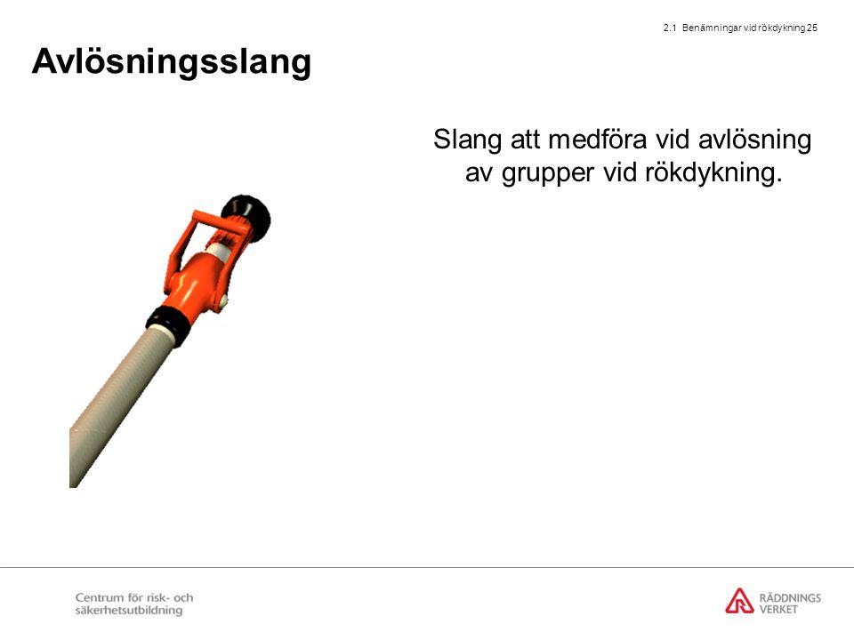 2.1 Benämningar vid rökdykning 25 Avlösningsslang Slang att medföra vid avlösning av grupper vid rökdykning.