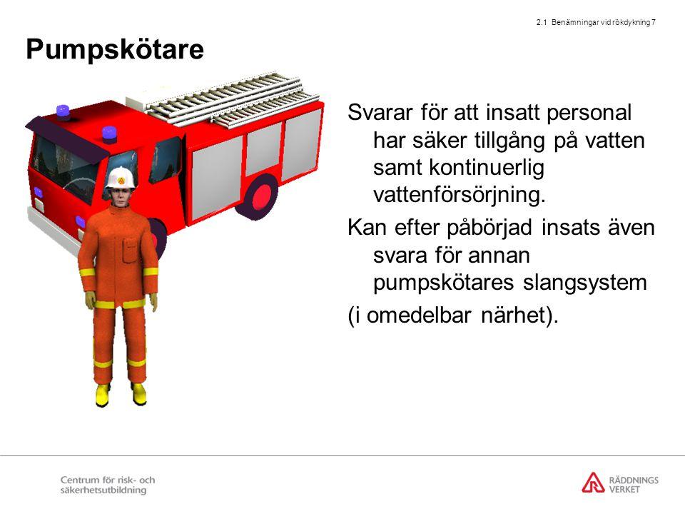 2.1 Benämningar vid rökdykning 7 Pumpskötare Svarar för att insatt personal har säker tillgång på vatten samt kontinuerlig vattenförsörjning. Kan efte