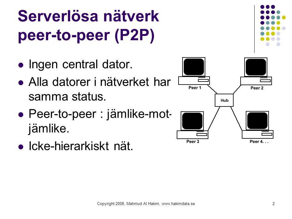 Serverlösa nätverk peer-to-peer (P2P) Ingen central dator. Alla datorer i nätverket har samma status. Peer-to-peer : jämlike-mot- jämlike. Icke-hierar