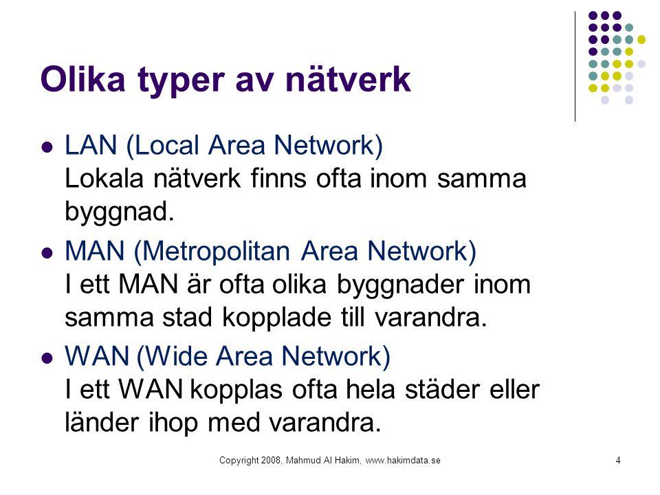 Olika typer av nätverk LAN (Local Area Network) Lokala nätverk finns ofta inom samma byggnad. MAN (Metropolitan Area Network) I ett MAN är ofta olika