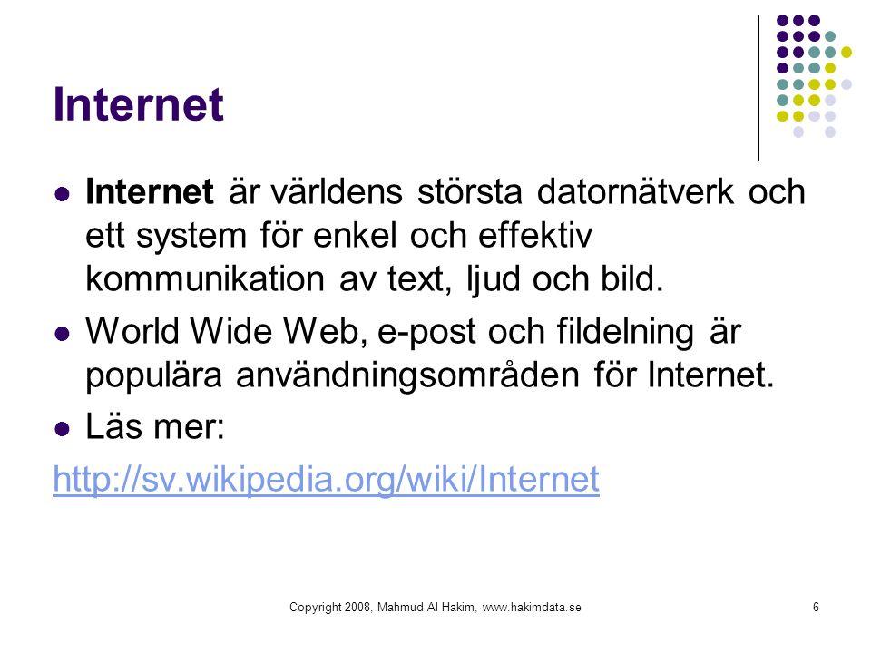 Internet Internet är världens största datornätverk och ett system för enkel och effektiv kommunikation av text, ljud och bild. World Wide Web, e-post