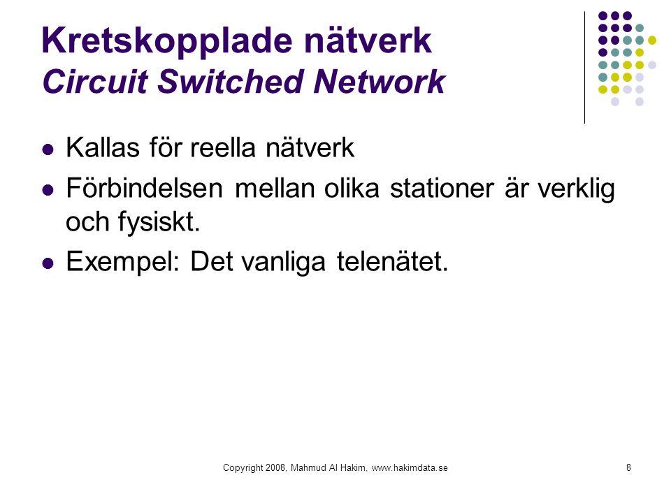 Kretskopplade nätverk Circuit Switched Network Kallas för reella nätverk Förbindelsen mellan olika stationer är verklig och fysiskt. Exempel: Det vanl