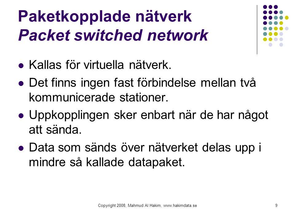 Paketkopplade nätverk Packet switched network Kallas för virtuella nätverk. Det finns ingen fast förbindelse mellan två kommunicerade stationer. Uppko