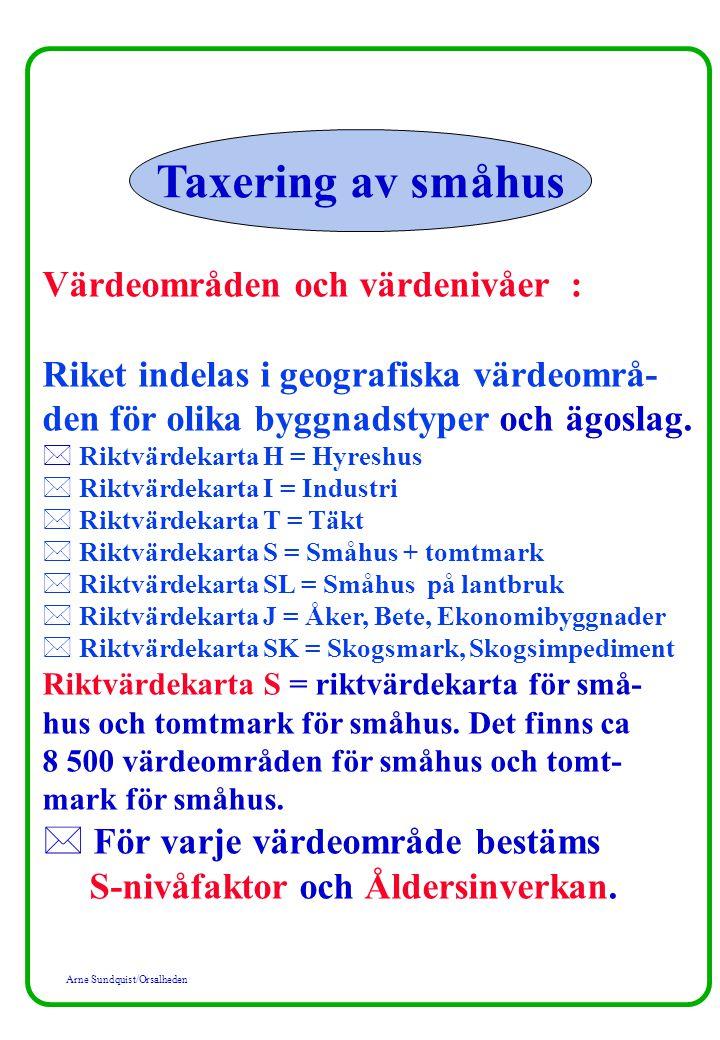 Arne Sundquist/Orsalheden Värdeområden och värdenivåer : Riket indelas i geografiska värdeområ- den för olika byggnadstyper och ägoslag. * Riktvärdeka