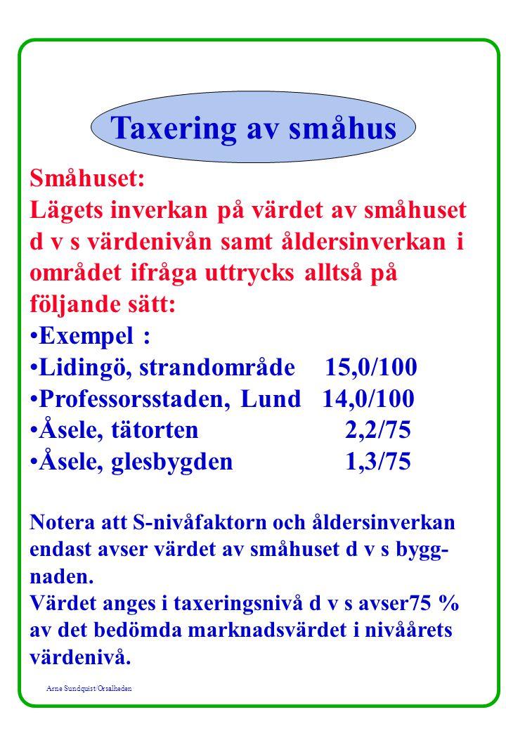 Arne Sundquist/Orsalheden Taxering av småhus Småhuset: Lägets inverkan på värdet av småhuset d v s värdenivån samt åldersinverkan i området ifråga utt