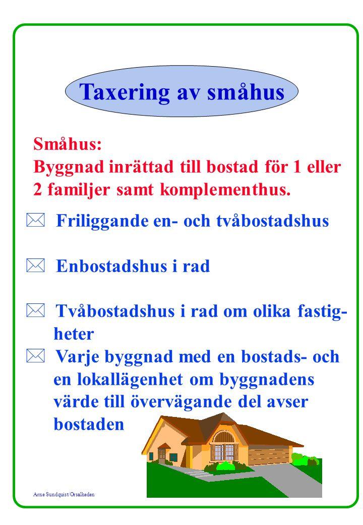 Arne Sundquist/Orsalheden Taxering av småhus Småhus: Byggnad inrättad till bostad för 1 eller 2 familjer samt komplementhus. * Friliggande en- och två