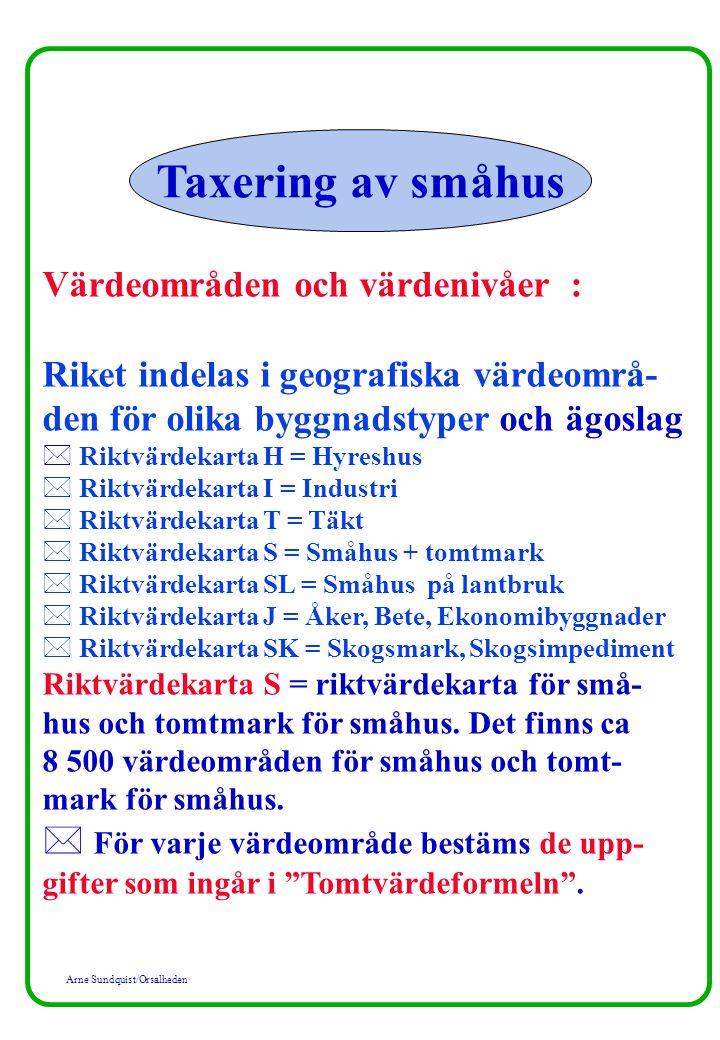 Arne Sundquist/Orsalheden Värdeområden och värdenivåer : Riket indelas i geografiska värdeområ- den för olika byggnadstyper och ägoslag * Riktvärdekar