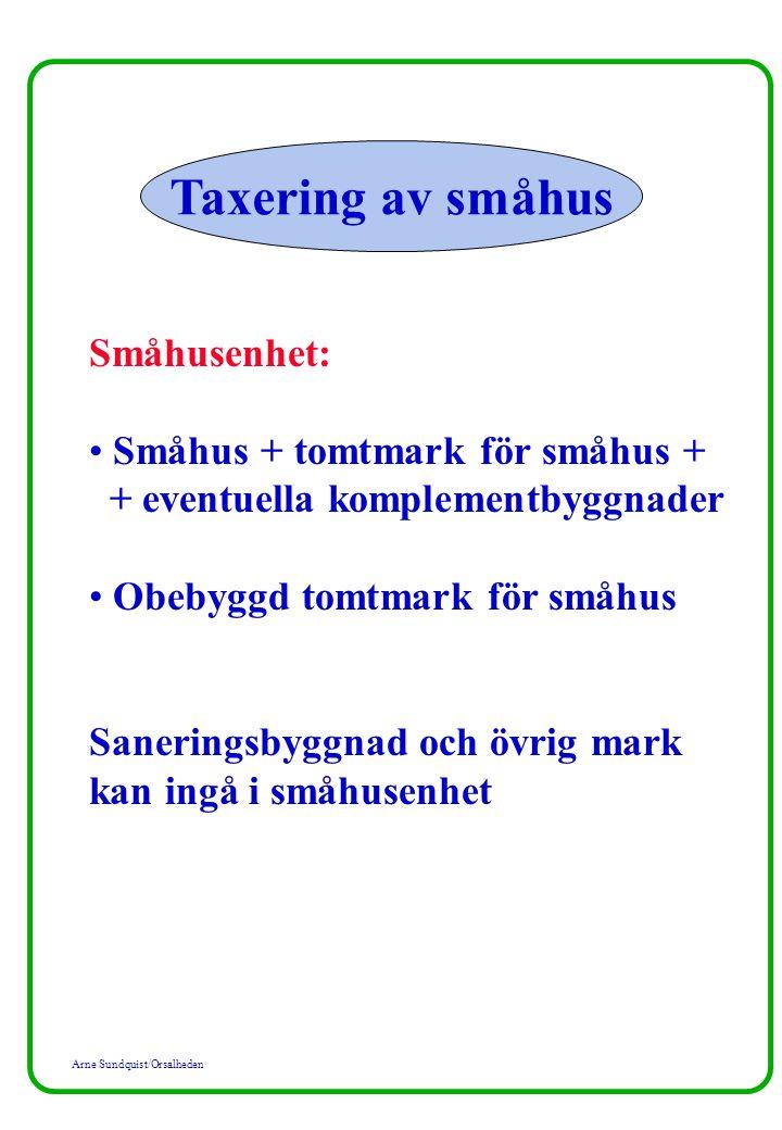 Arne Sundquist/Orsalheden Taxering av småhus Värderingsenhet: Varje småhus inom taxeringenheten med eventuellt tillhörande komple- mentbyggnader Varje tomt för småhus Om byggrätt till två eller flera småhus finns på en och samma tomt är varje sådan del av tomten en värderingsenhet