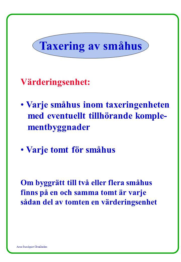 Arne Sundquist/Orsalheden Taxering av småhus Värdefaktorer för småhuset: Storlek Ålder Standard Byggnadskategori Fastighetsrättsliga förhållanden Värdeordning