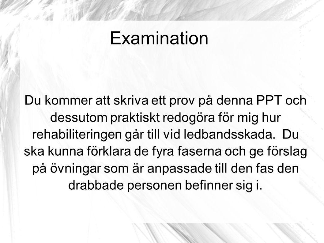 Examination Du kommer att skriva ett prov på denna PPT och dessutom praktiskt redogöra för mig hur rehabiliteringen går till vid ledbandsskada. Du ska