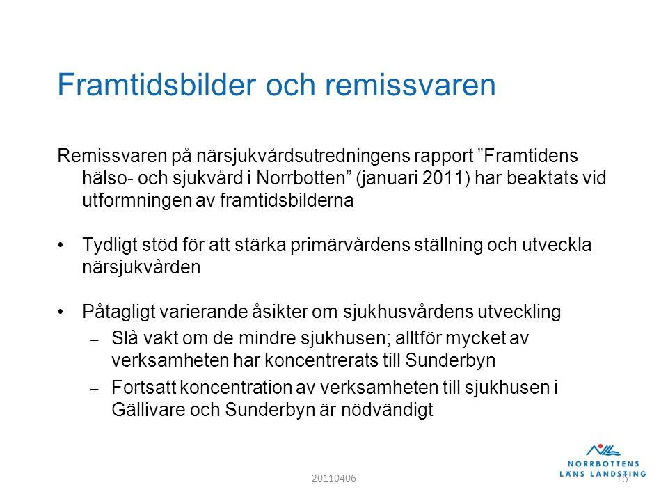 Framtidsbilder och remissvaren Remissvaren på närsjukvårdsutredningens rapport Framtidens hälso- och sjukvård i Norrbotten (januari 2011) har beaktats vid utformningen av framtidsbilderna Tydligt stöd för att stärka primärvårdens ställning och utveckla närsjukvården Påtagligt varierande åsikter om sjukhusvårdens utveckling – Slå vakt om de mindre sjukhusen; alltför mycket av verksamheten har koncentrerats till Sunderbyn – Fortsatt koncentration av verksamheten till sjukhusen i Gällivare och Sunderbyn är nödvändigt 20110406 15