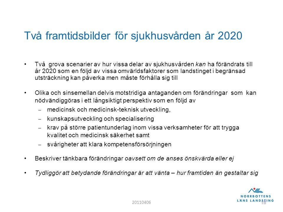 18 Två framtidsbilder för sjukhusvården år 2020 Två grova scenarier av hur vissa delar av sjukhusvården kan ha förändrats till år 2020 som en följd av vissa omvärldsfaktorer som landstinget i begränsad utsträckning kan påverka men måste förhålla sig till Olika och sinsemellan delvis motstridiga antaganden om förändringar som kan nödvändiggöras i ett långsiktigt perspektiv som en följd av – medicinsk och medicinsk-teknisk utveckling, – kunskapsutveckling och specialisering – krav på större patientunderlag inom vissa verksamheter för att trygga kvalitet och medicinsk säkerhet samt – svårigheter att klara kompetensförsörjningen Beskriver tänkbara förändringar oavsett om de anses önskvärda eller ej Tydliggör att betydande förändringar är att vänta – hur framtiden än gestaltar sig 20110406 18