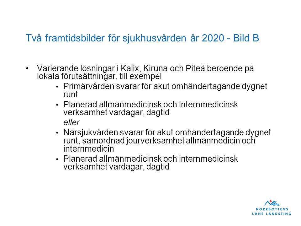 Två framtidsbilder för sjukhusvården år 2020 - Bild B Varierande lösningar i Kalix, Kiruna och Piteå beroende på lokala förutsättningar, till exempel Primärvården svarar för akut omhändertagande dygnet runt Planerad allmänmedicinsk och internmedicinsk verksamhet vardagar, dagtid eller Närsjukvården svarar för akut omhändertagande dygnet runt, samordnad jourverksamhet allmänmedicin och internmedicin Planerad allmänmedicinsk och internmedicinsk verksamhet vardagar, dagtid
