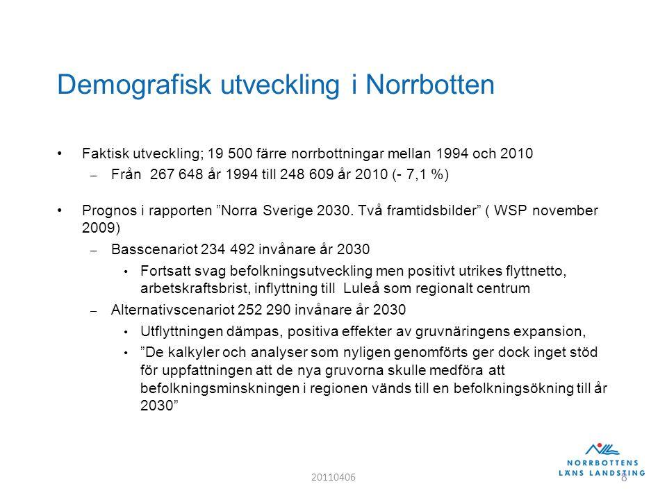 8 Demografisk utveckling i Norrbotten Faktisk utveckling; 19 500 färre norrbottningar mellan 1994 och 2010 – Från 267 648 år 1994 till 248 609 år 2010 (- 7,1 %) Prognos i rapporten Norra Sverige 2030.