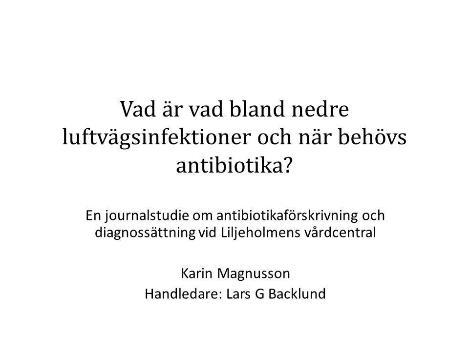 Akut bronkit och Hosta 17 av 100 behandlades med antibiotika Ingen säker skillnad mellan de som fick och de som inte fick antibiotika Ingen av de antibiotikabehandlade patienterna hade förhöjt CRP Positivt mycoplasmatest hos 41 % (n=7) av de antibiotikabehandlade