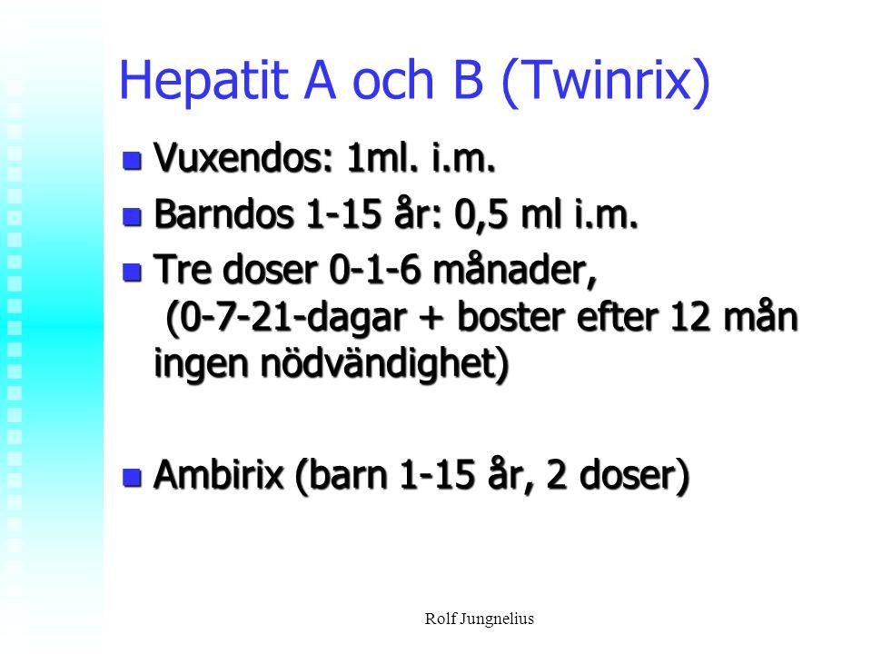 Rolf Jungnelius Hepatit A och B (Twinrix) Vuxendos: 1ml. i.m. Vuxendos: 1ml. i.m. Barndos 1-15 år: 0,5 ml i.m. Barndos 1-15 år: 0,5 ml i.m. Tre doser