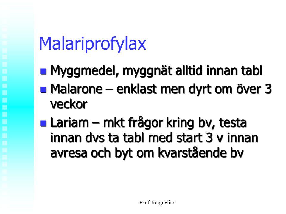 Rolf Jungnelius Malariprofylax Myggmedel, myggnät alltid innan tabl Myggmedel, myggnät alltid innan tabl Malarone – enklast men dyrt om över 3 veckor