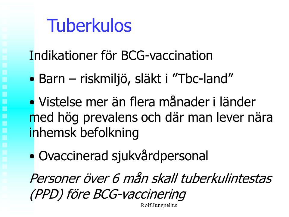 """Rolf Jungnelius Tuberkulos Indikationer för BCG-vaccination Barn – riskmiljö, släkt i """"Tbc-land"""" Vistelse mer än flera månader i länder med hög preval"""